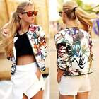Popular Women Long Sleeve O Neck Slim Floral Short Jacket Coat Blouse Outwear
