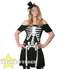 SKELETON FANCY DRESS + MINI HAT HALLOWEEN LADIES BONES COSTUME DEAD BLACK