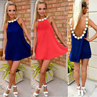 Sexy Women Lady Summer Evening Party Beach Dress Chiffon Mini Cocktail Backless