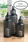 round BLACK pierced punched metal Moroccan Marrakech Lantern big Candle holder