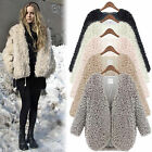 Womens Wool Coat Fluffy Fur Jacket Winter Warm Outwear Long Sleeve Cardigan