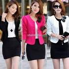 Womens Solid Candy Colour Blazer Suit Jacket Short Coat Outerwear Overcoat New