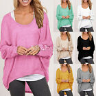 Korean Womens Plus Size Long Sleeve Pullover Casual Loose Baggy Loose Top Jumper