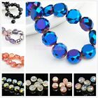 30pcs 19Colors Free Ship Drum Rondelle Faceted Glass Crystal Loose Beads 12x7mm