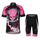 Pink Chain Cycling Bike Short Sleeve Bicycle Women Jersey Set / Top Shorts S-3XL