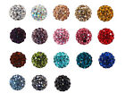 Fashion Czech Crystal Rhinestones Pave Clay Round Disco Ball Spacer Beads 10PCS