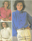 Vintage 80s Misses Button Blouse Sewing Pattern Cuffs Collar Variations 8713