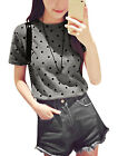 Women Pullover Short Sleeves Round Neck Dots Prints Casual T-Shirts