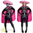 WOMENS DAY OF THE DEAD SUGAR SKELETON PINK FANCY DRESS COSTUME MEXCIAN SENORITA