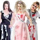 Prom Queen Zombie + Blood Ladies Fancy Dress Halloween Womens Adults Costume New