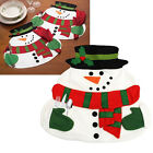 Snowman Santa Claus Layer Flannel Placemat Christmas Cutlery Holder Table Mat