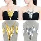 Fashion Vintange Rectangle Chain Bib Pendant Necklace Stud Dangle Earrings Set