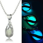 Steampunk Waterdrop Locket Luminous Glow In The Dark Pendant Chain Necklace