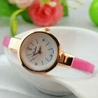 Fashion Lady Round Slim Leather Band Bracelet Quartz Wristwatch Watch Women NEW