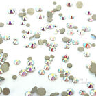 144 mixed tiny sizes ss3-ss10 Swarovski 2058 Flatback nail art CRYSTAL AB 001 AB