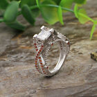 Fashion 925 Sterling Silver Diamante Orange Crystal Hollow Out Ring Jewelry Hot