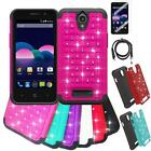 Phone Case For ZTE Obsidian Z820 Dual-Layered Crystal Cover USB Charger Film
