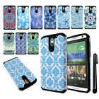 For HTC Desire 610 Anti Shock TPU HYBRID HARD Back Silicone Case Cover + Pen