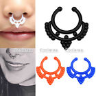 2x Acrylic Moon Fake Septum Clicker Nose Ring No Piercing Hanger Clip On Jewelry