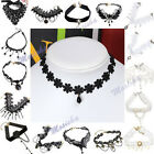 Adjustable Elegant Women Black White Lace Choker Flower Beads Tassel Necklace