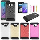Criss Cross Hybrid Pattern Cover Case+Stylus+LCD Film For Samsung Galaxy Note 5