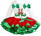 Red Green Satin Trimmed Tutu Xmas Elf Feets White Tee Party Dress Outfit