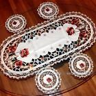 Peony Embroidery Cutwork Tassel Chrismas Decor Table Runner Cup Placement #229