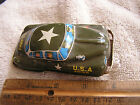 Vintage Tin Friction Lithograph USA Army Toy Car