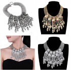 New  Jewelry Skull Skeleton Crystal Tassel Cluster Bib Chain Pendant Necklace