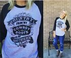 Country From Cowboy Boots Southern Roots T-Shirt Baseball Burnout 3/4 Sleeve