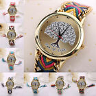 Womens Rope Knitted Chain Bracelet Tree of Life Pattern Dial Quartz Wrist Watch