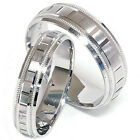 14K White Gold Matching His Hers Bridal Wedding Ring Band Set 7mm & 4MM Wide