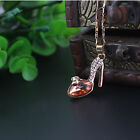 Women Charming Cinderella's Crystal High Heel Shoes Pendant Necklace Jewelry E