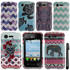 For LG Optimus Zone 2 Fuel L34C Aztec Nebula Turtle PATTERN HARD Case Cover +Pen