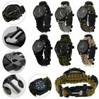 Paracord Survival Bracelet Compass/Flint/Fire Starter/Whistle Camping Watch Gear