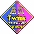 NEW * TEDDY TWINS * BLUE & PINK FOR BOY & GIRL * Baby on Board Car Window Sign