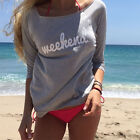 Women Long Sleeve Casual Pullover Tops Jumper Cotton Neck Blouse T-shirts Hot TY