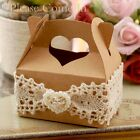 Rustic Heart Handle Kraft Wedding Favour Boxes with Lace