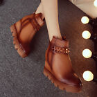Hot Womens Genuine Leather Rivet Round Toe Wedge Heel Ankle Boot Knight Shoes