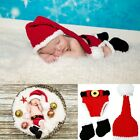 Baby Boy Girl Santa Claus Crochet Knitted Hat Shorts + Boots Photography Prop