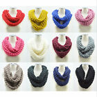 Hot Women Winter Warm Infinity 2 Circle Cable Knit Cowl Neck Long Scarf Shawl