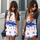 Sexy Womens Retro Floral Summer Casual Loose TOP Blouse Shirt Short Mini Dresses
