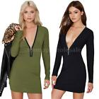 Casual Womens Sweater Jumper Long Top Mini Dress Pullover Deep V Neck Chic GN97