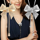EE Elegant Sweet Crystal Rhinestone Bow Bowtie Pendant Necklace Sweater Chain