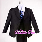 Boy 5pc Set Pinstripe Formal Suits Outfits Christening Wedding Size 2T-7 #025