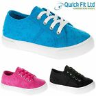 GIRLS PLIMSOLLS PUMPS LACE UP CANVAS SCHOOL SHOES LADIES FLORAL TRAINERS BOOTS