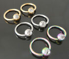 2-16G or 14G Titanium Gold Tone Rainbow CZ Captive Bead Nipple Ring Earring NEW