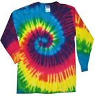 Multi-Color Reactive Long Sleeve Tie Dye Tee Adult S to XXXL Hanes 100% Cotton