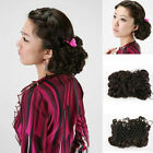 Handmade Chignon Clip-In Updo Extension Curly Wavy Hair Bun Lady Hairpiece