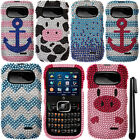 For ZTE Z432 DIAMOND BLING CRYSTAL HARD Case Phone Cover + Pen